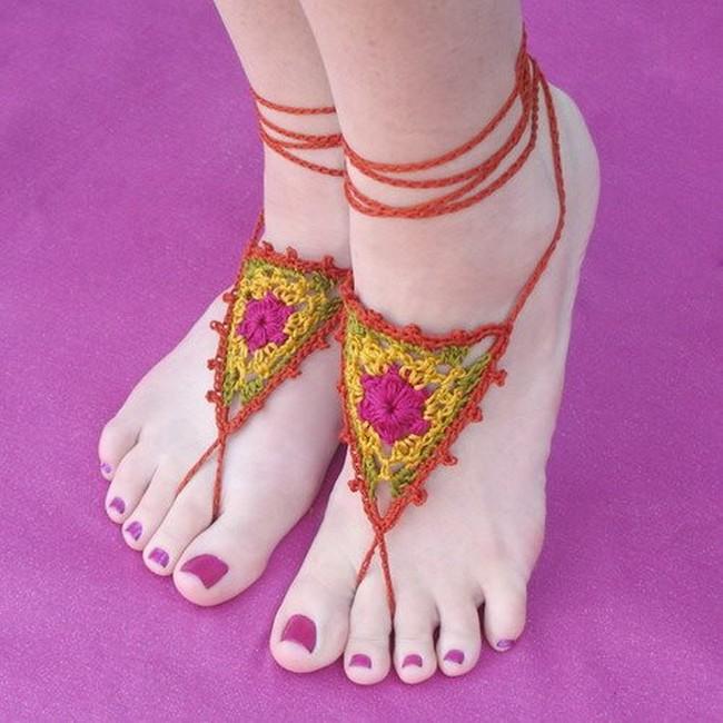 crochet women barefoot sandals design
