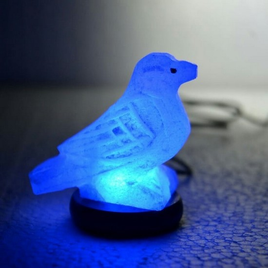 USB multicolored Sparrow shaped crafted white salt lamps