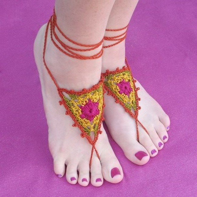 Easy To Design Crochet Barefoot Sandals for You