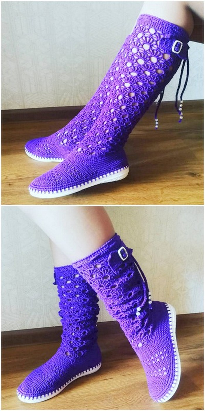 fabulous crochet long shoes design