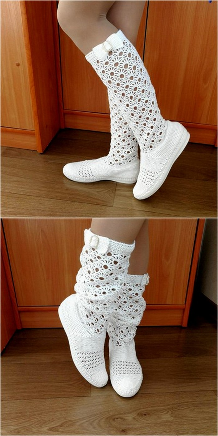 adorable crochet shoes in white