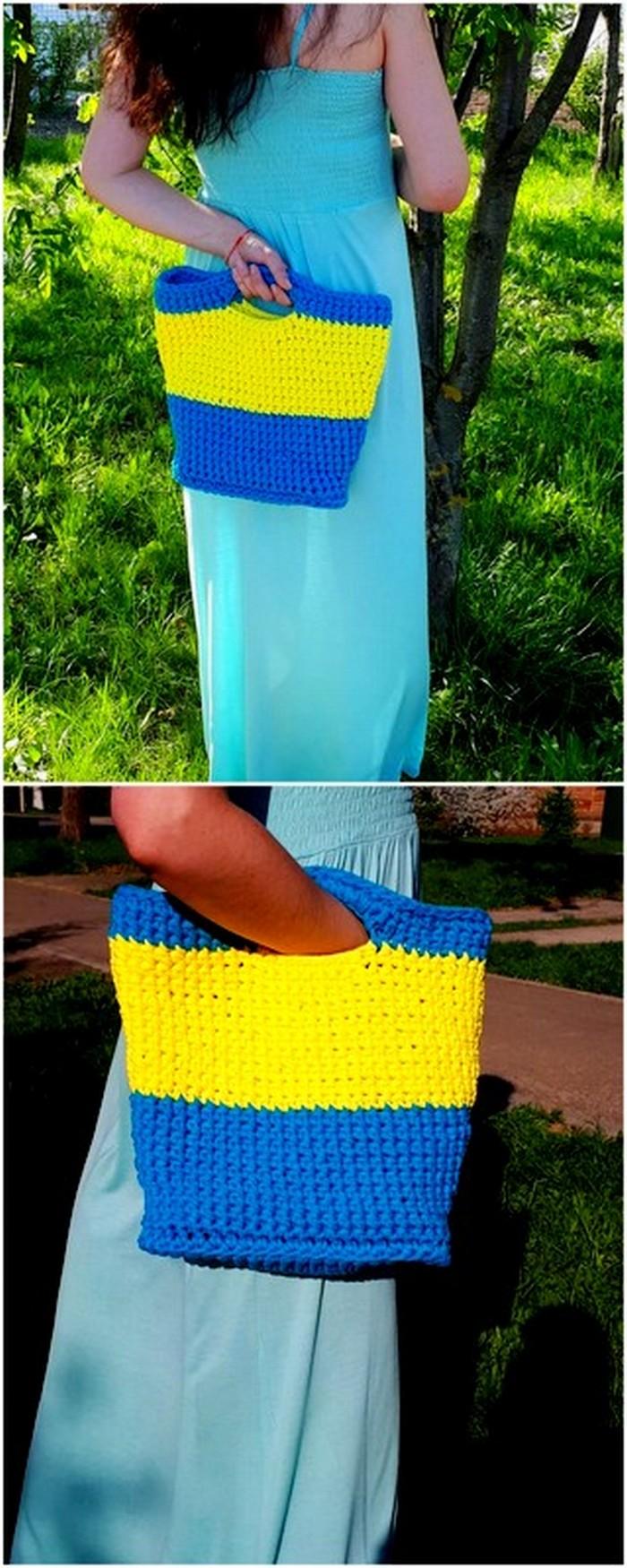 colorful crochet handbag design
