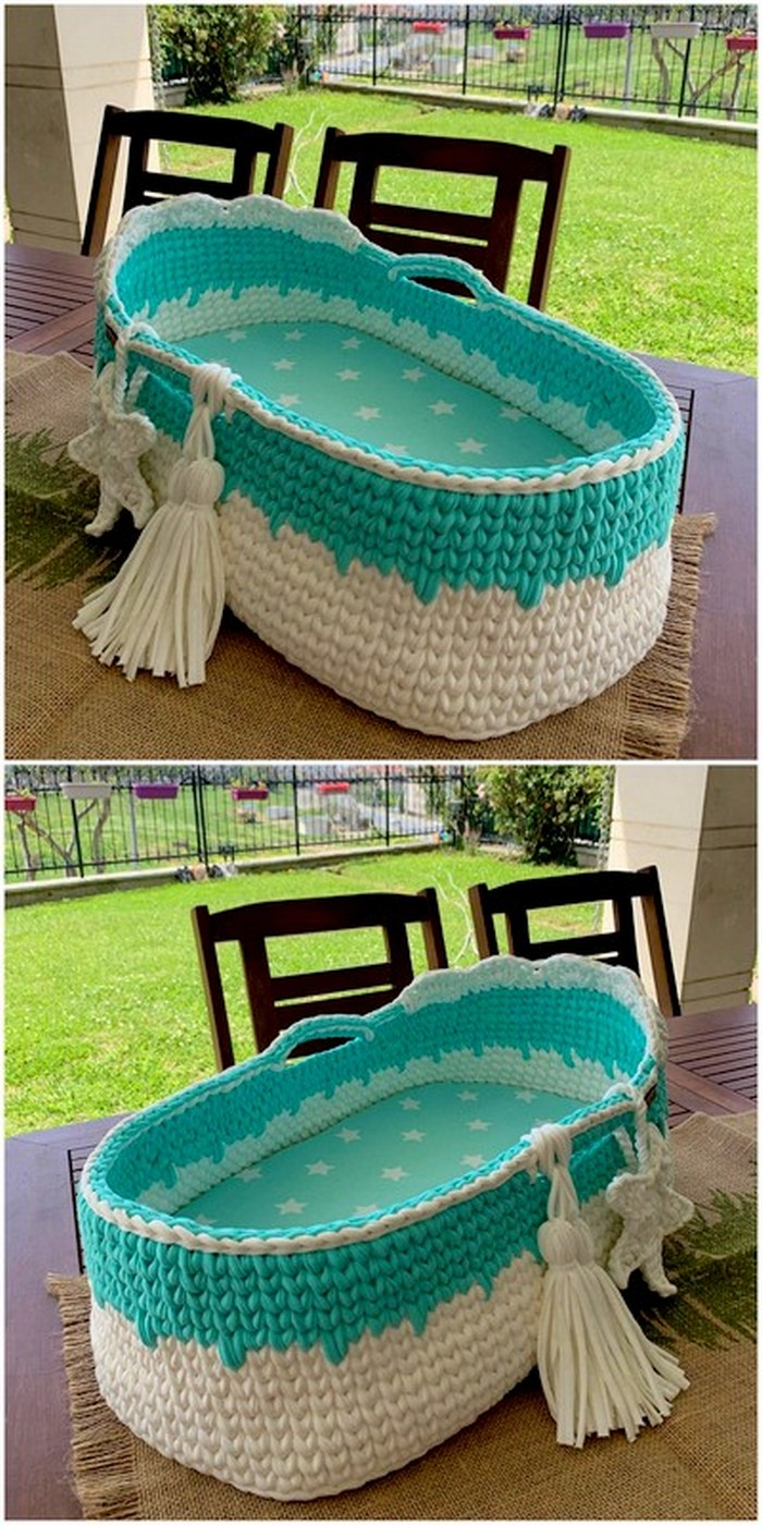 artistic style crochet baby cot