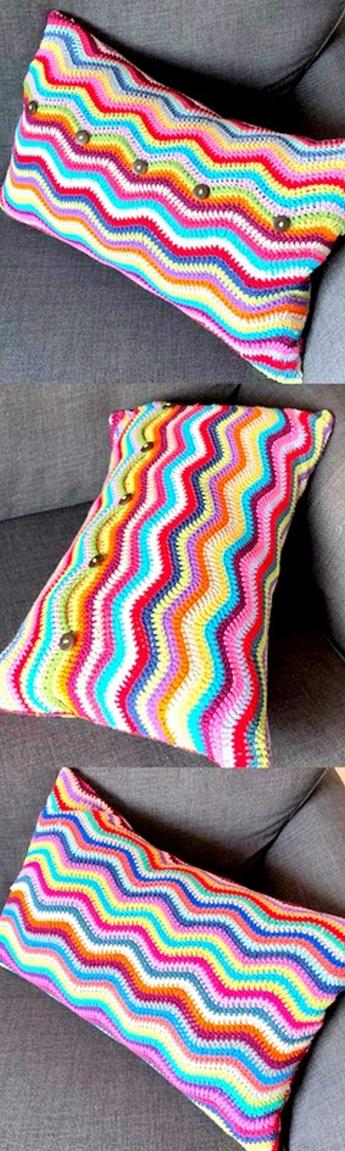 colorful crochet pillow cover