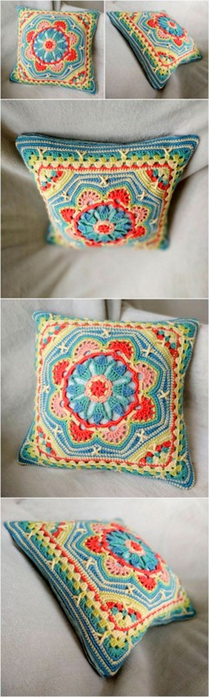 traditional style crochet cushion cover