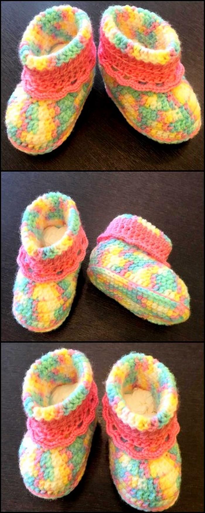 colorful crochet shoes idea