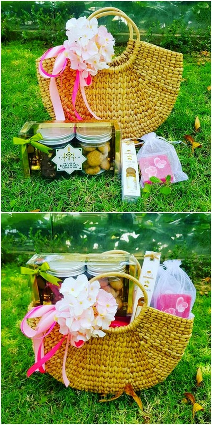 idea to decorate gift basket