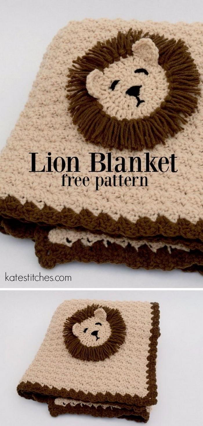 Lion Blanket Free Crochet Pattern