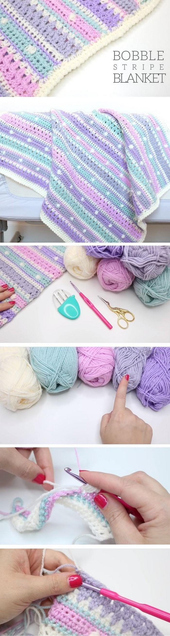 Stipe Blanket Free Crochet Pattern
