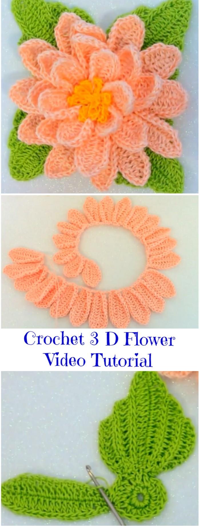 3D Flower Free Crochet Pattern