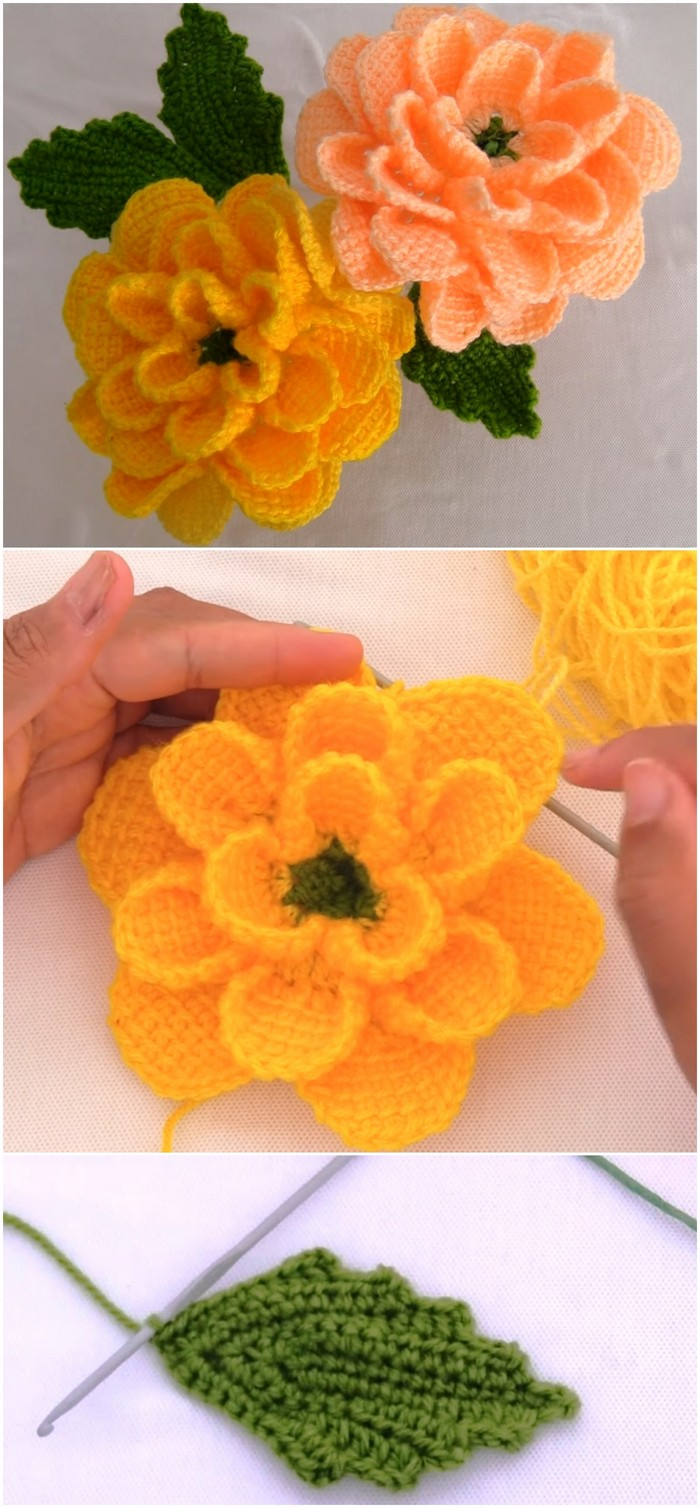 Easy And Fast Flower Free Crochet Pattern.