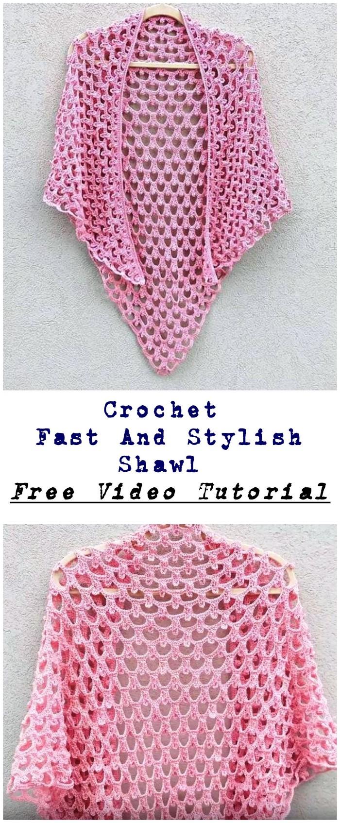 Fast And Stylish Shawl Free Crochet Pattern