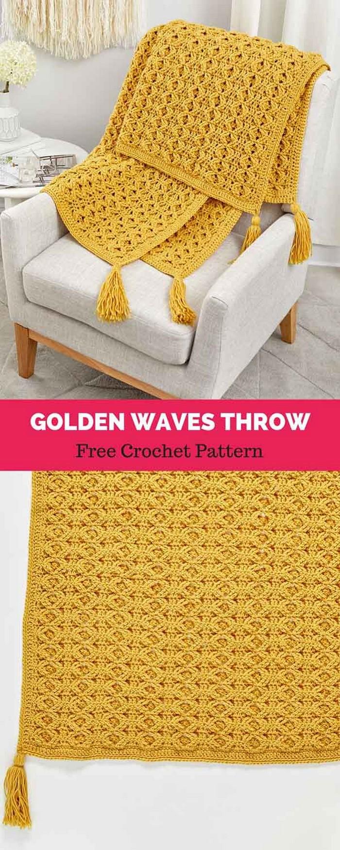 Golden Waves Throw Free Crochet Pattern