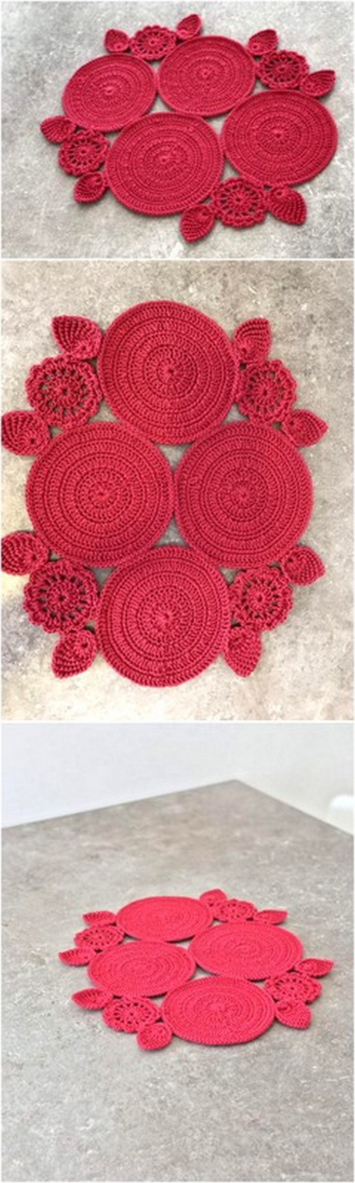 Red Rose Table Mat free Crochet Pattern