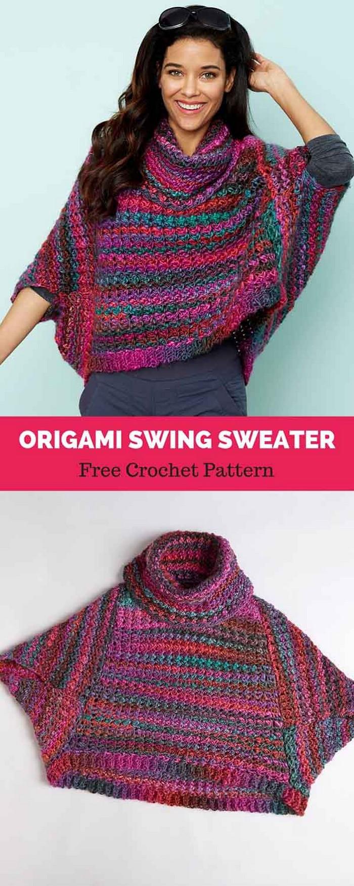 Orgami Swing Sweater Crochet Free Pattern