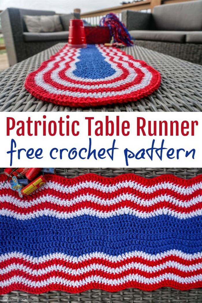 Patriotic Table Runner Free Crochet Pattern