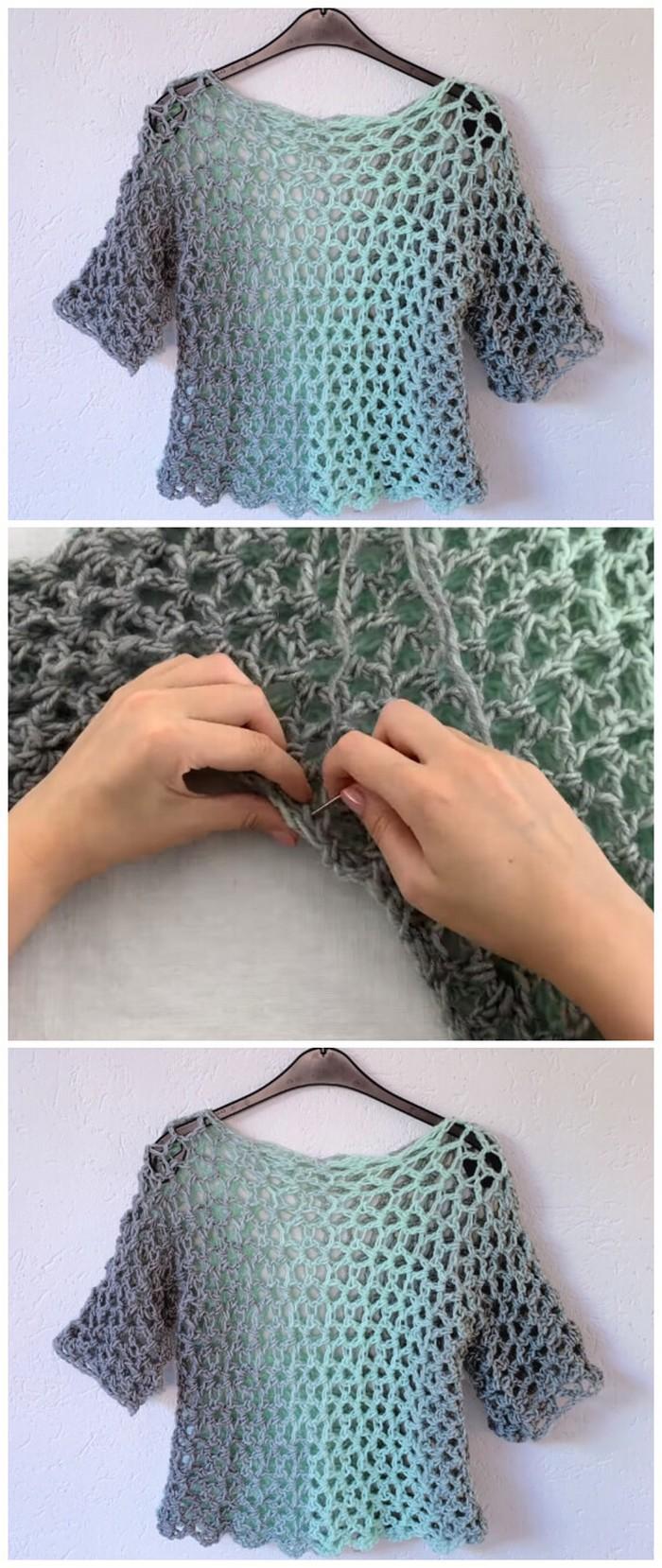 Stylish Net Design Shirt Free Crochet Pattern