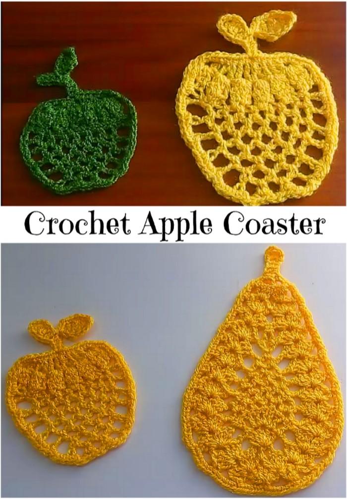 Apple Coaster Free Crochet Pattern