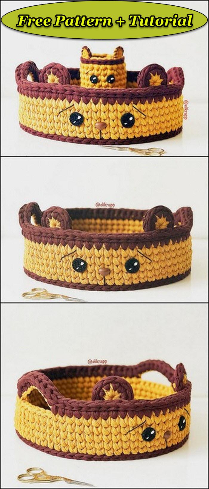 Cute cat face shaped crochet basket free pattern