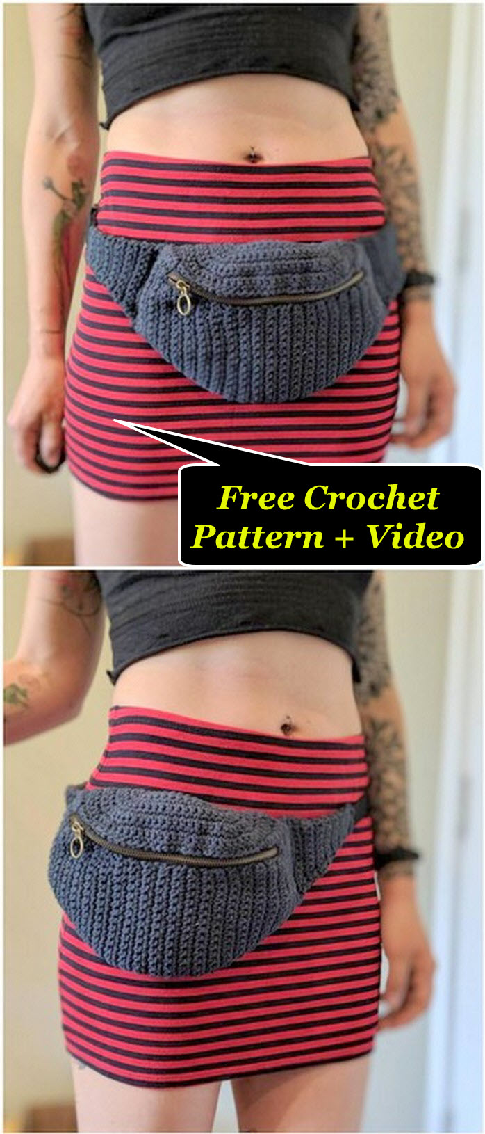 Easy and simple crochet belt bag free pattern