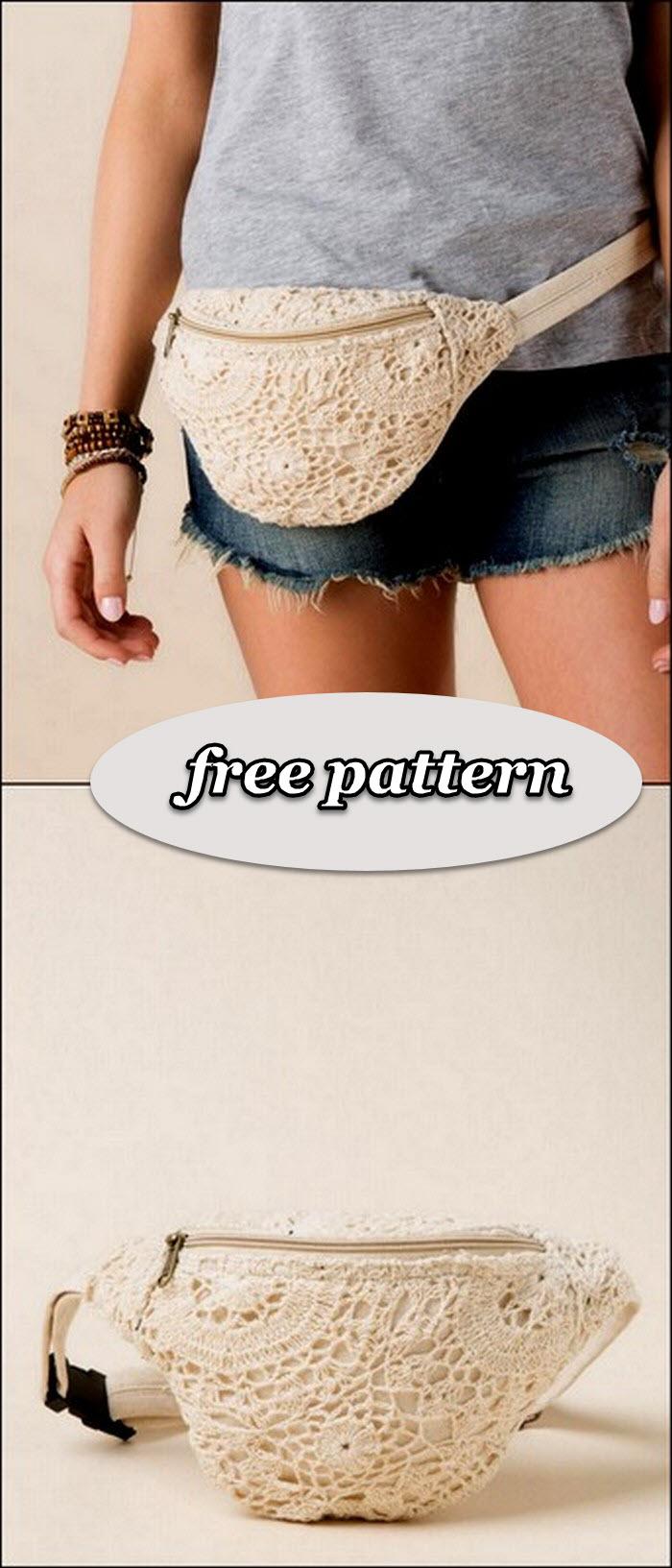 Little net pattern crochet waist belt bag free pattern
