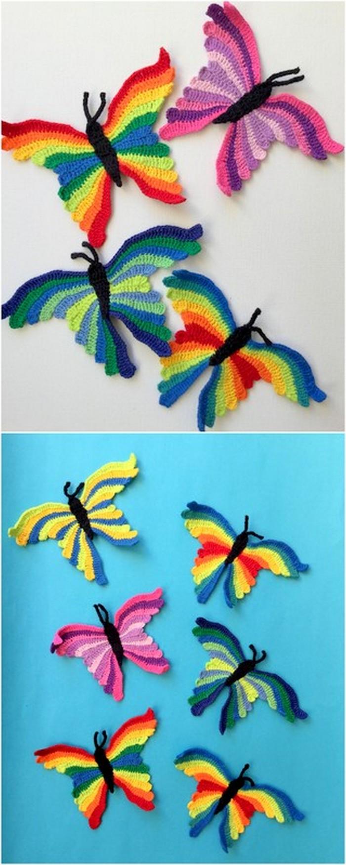 Multicolor crochet butterflies free pattern