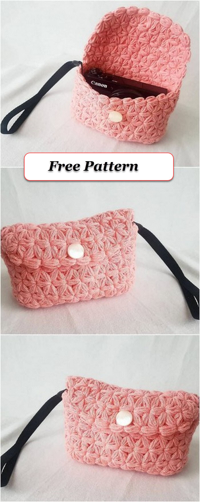 Baby pink crochet made the pouch free pattern