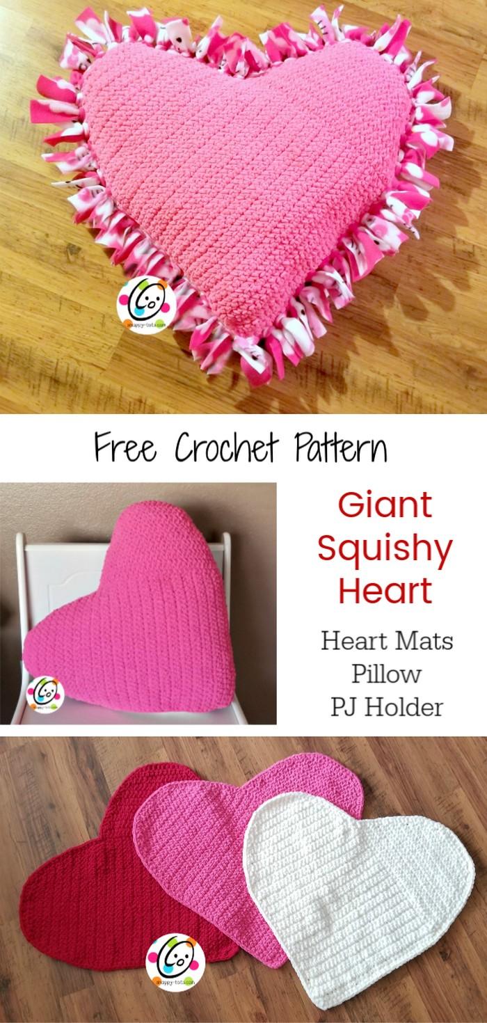 Squishy Heart Pillow Free Crochet Pattern