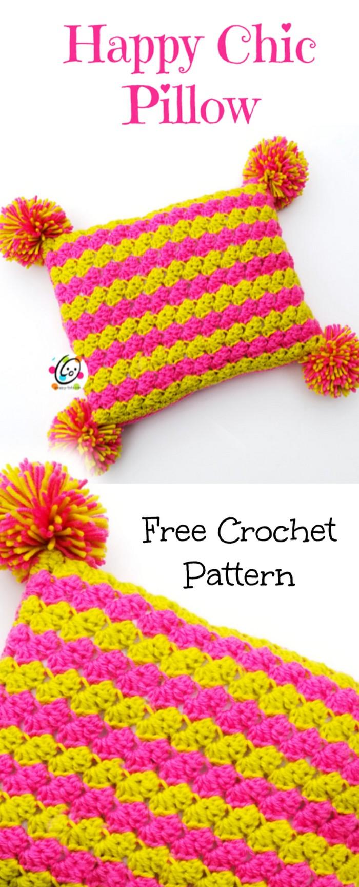 Happy Chic pillow Free Crochet Pattern