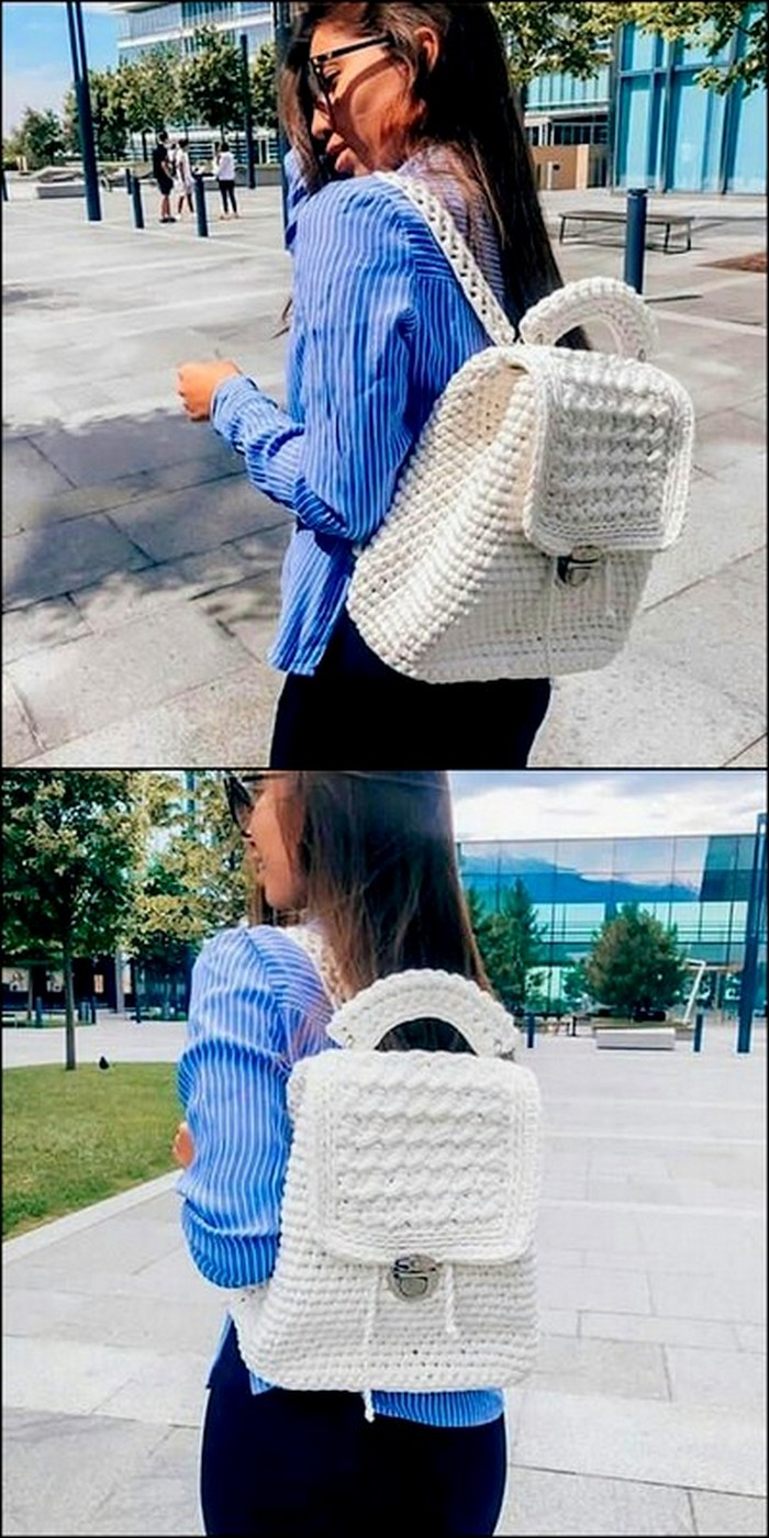 Stylish Back Pack Free Crochet Pattern