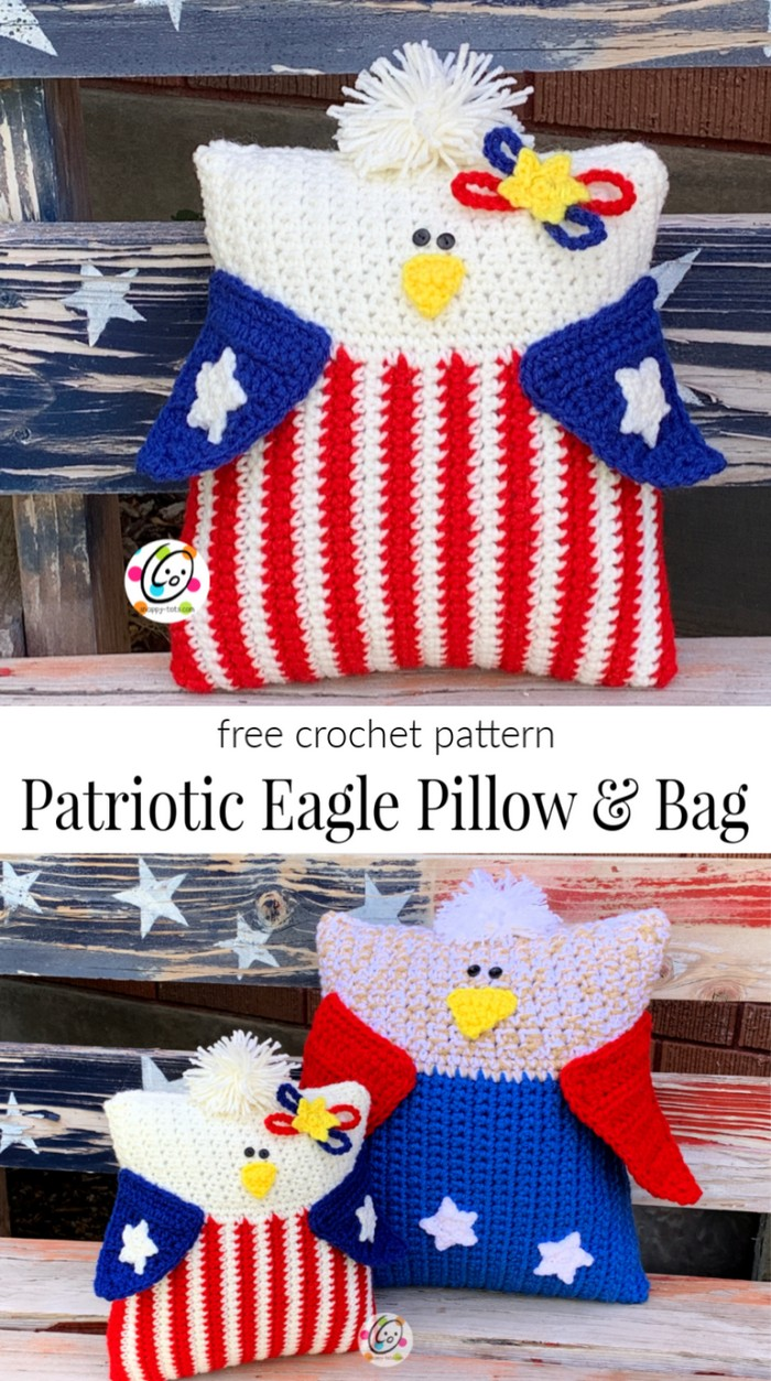 Patriotic Eagle Pillow Free Crochet Pattern