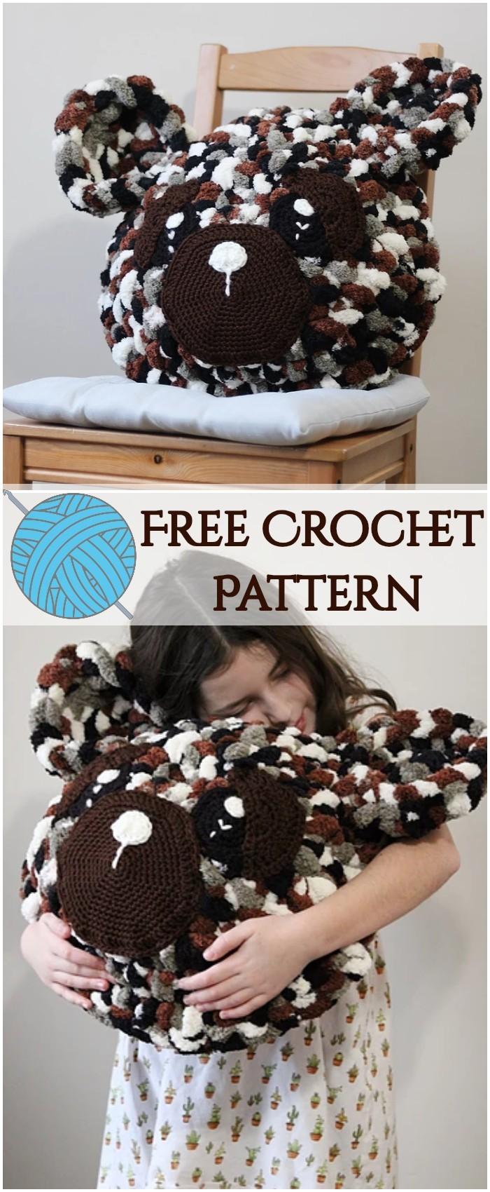 Stylish Bear Pillow Free Crochet Pattern