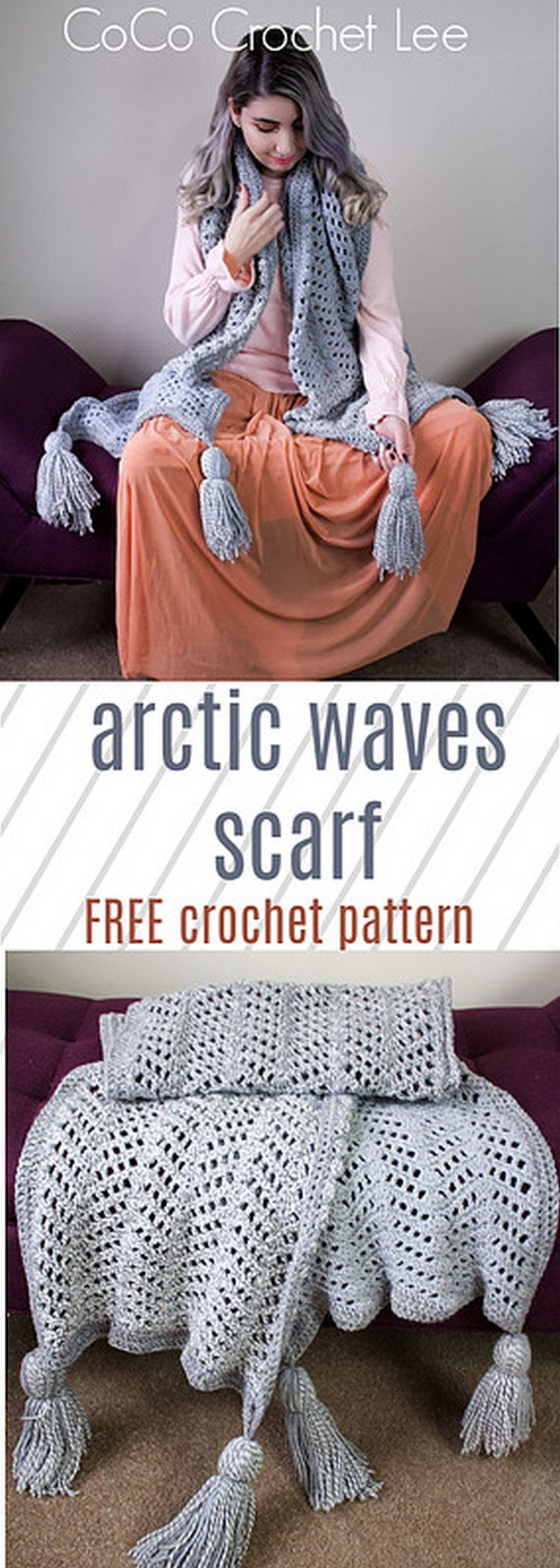 Arctic Wave Scarf Free Crochet Pattern