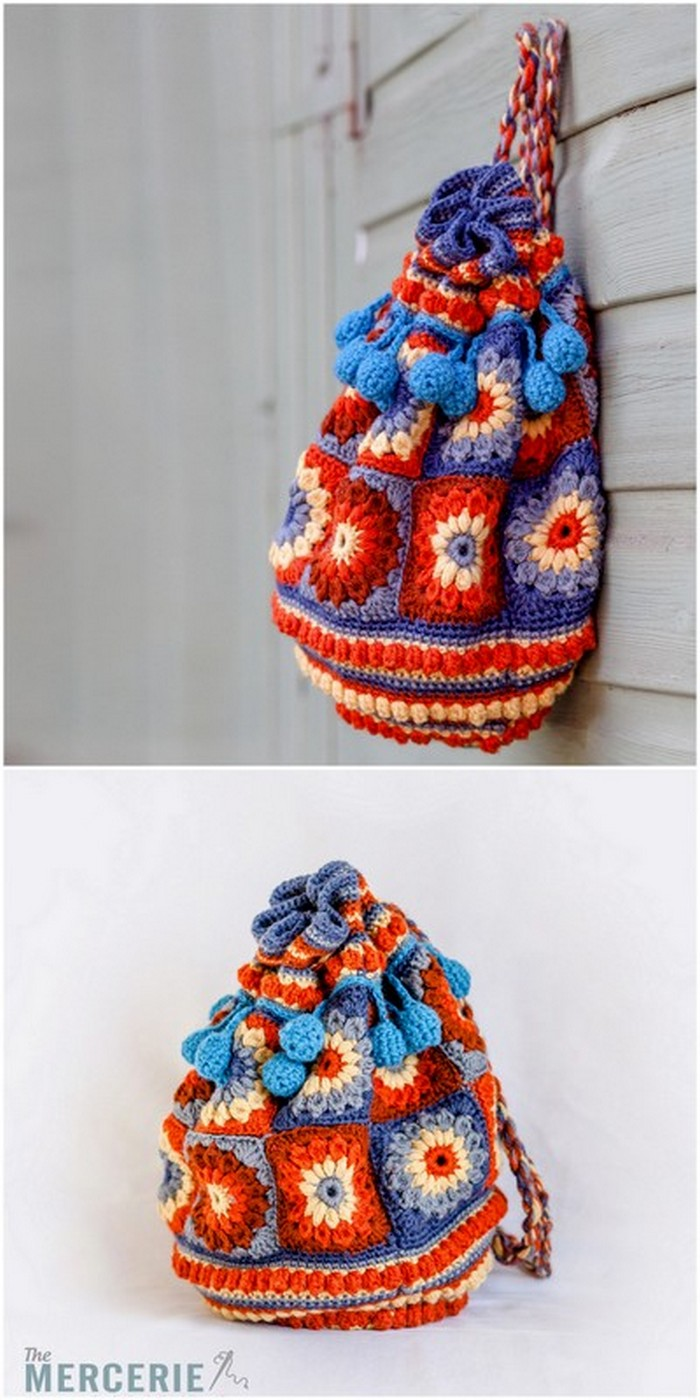 Colorful Hanging bag Free crochet pattern