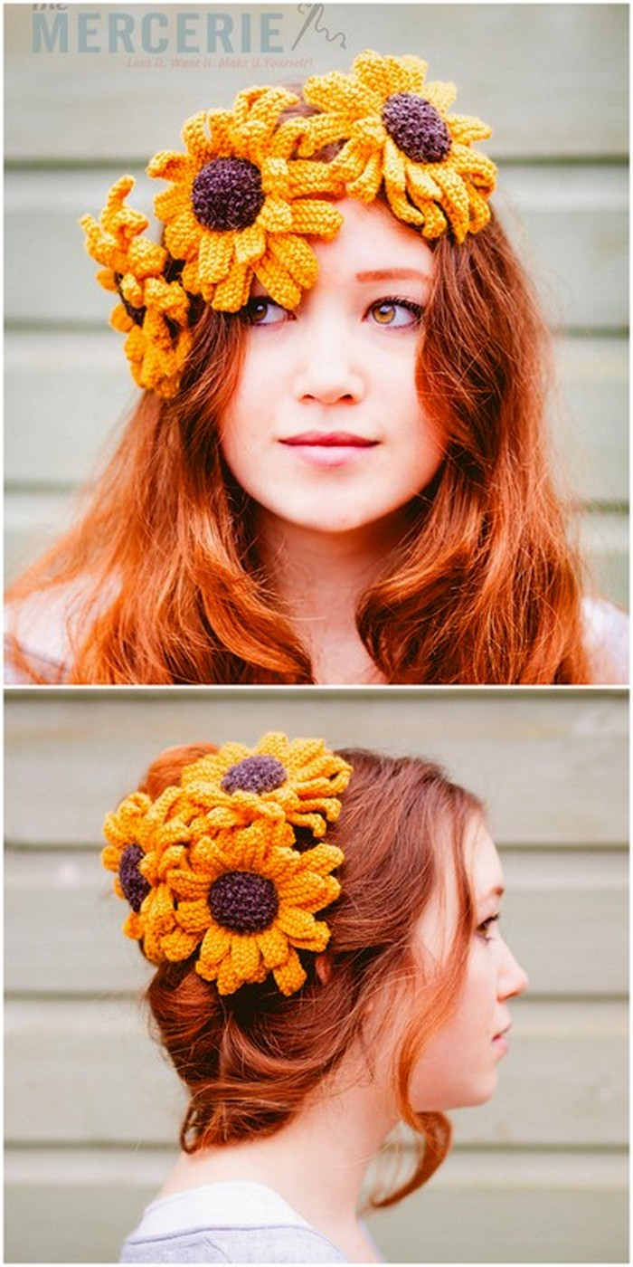 Hairstyle flowers Free Crochet Patterns