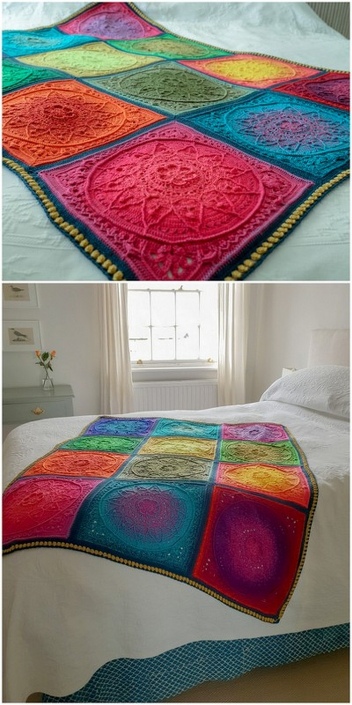 Transition Color Crochet Throw Free Crochet pattern