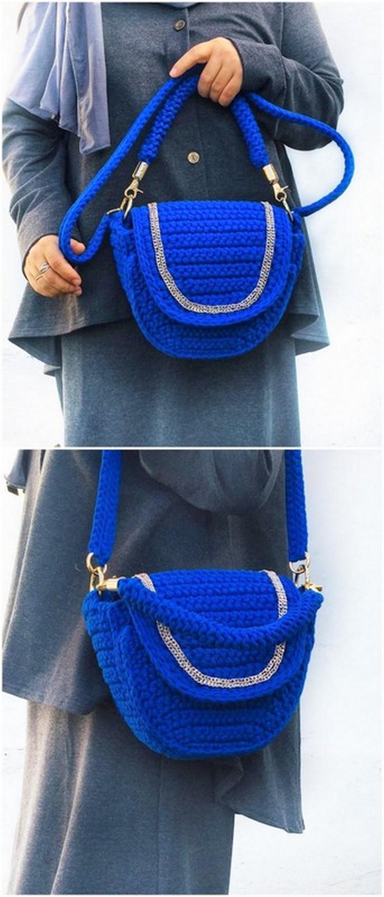 Blue handbag Free Crochet Pattern