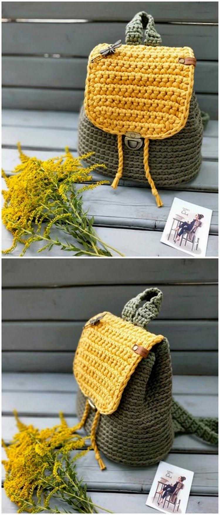 Stylish sack Pack Free Crochet Pattern