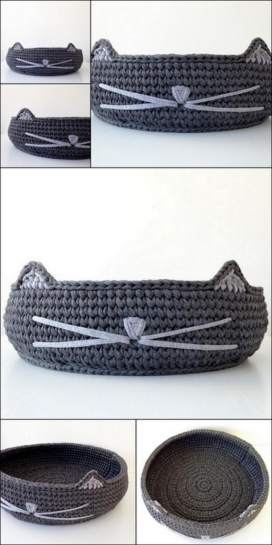 Cat shap tray Free Crochet Pattern