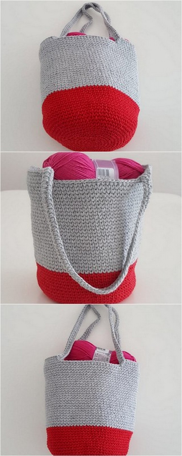 Grey Red Basket Free Crochet Pattern