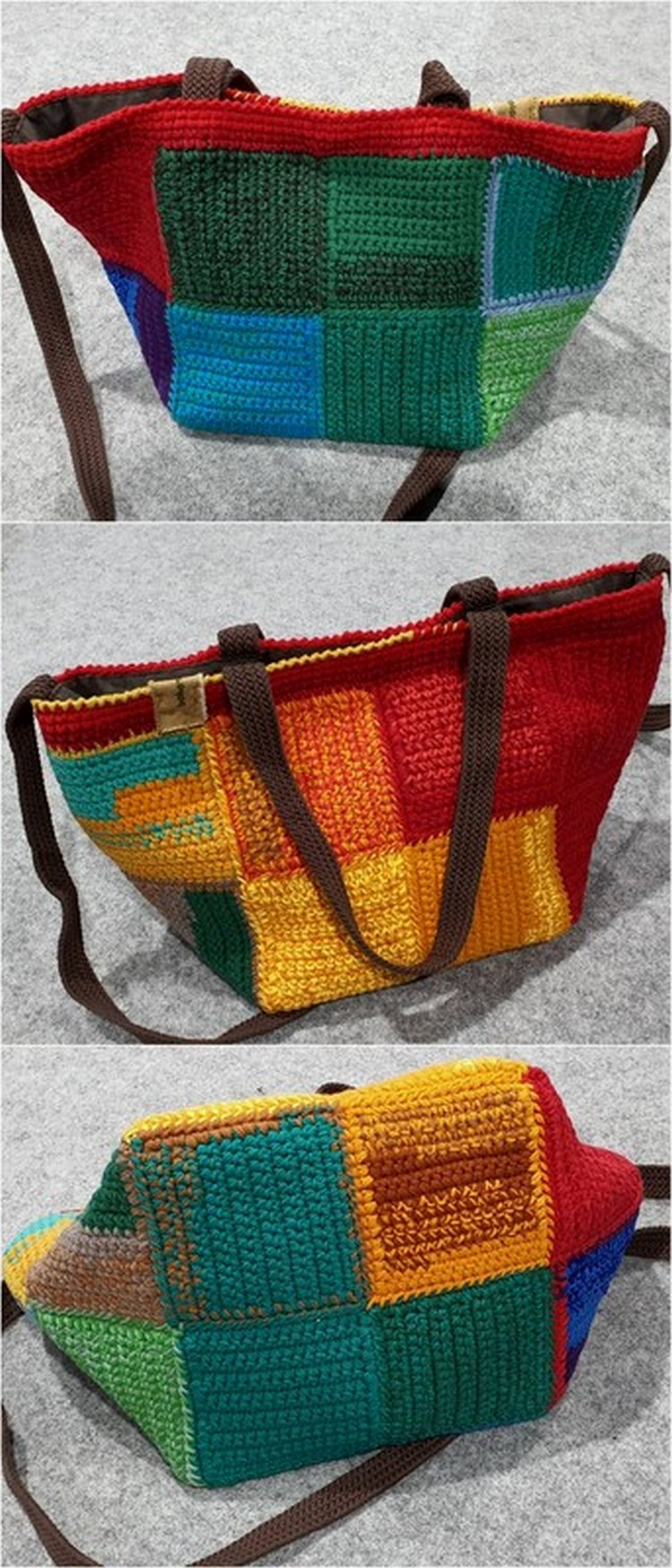 Small Squares Bag Free Crochet Pattern