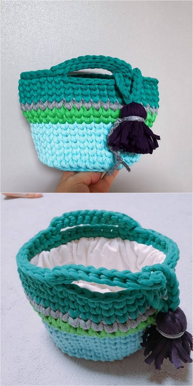 Basket Bag Free Crochet pattern
