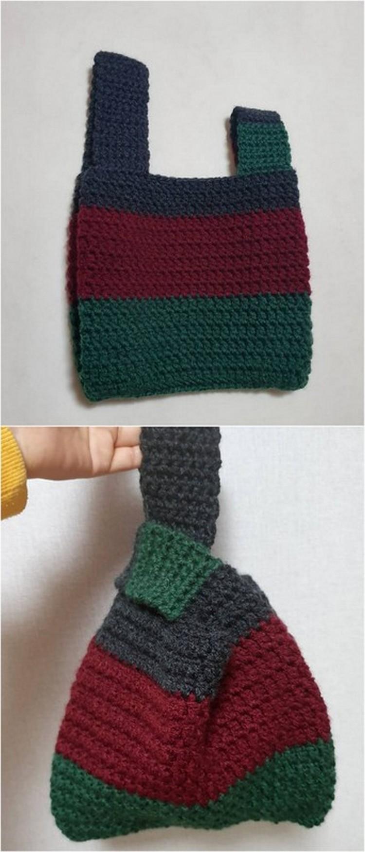 Unequal Striped Bag Free Crochet Pattern