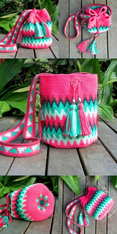Cute Crochet Pink Sack Bag Free Crochet Pattern