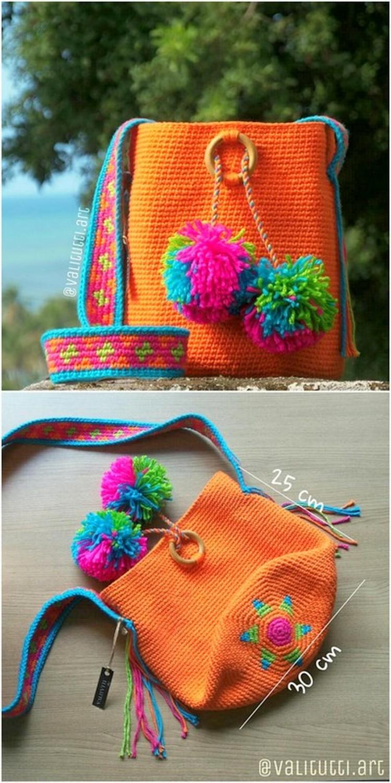 Orange Sack bag Free Crochet Pattern