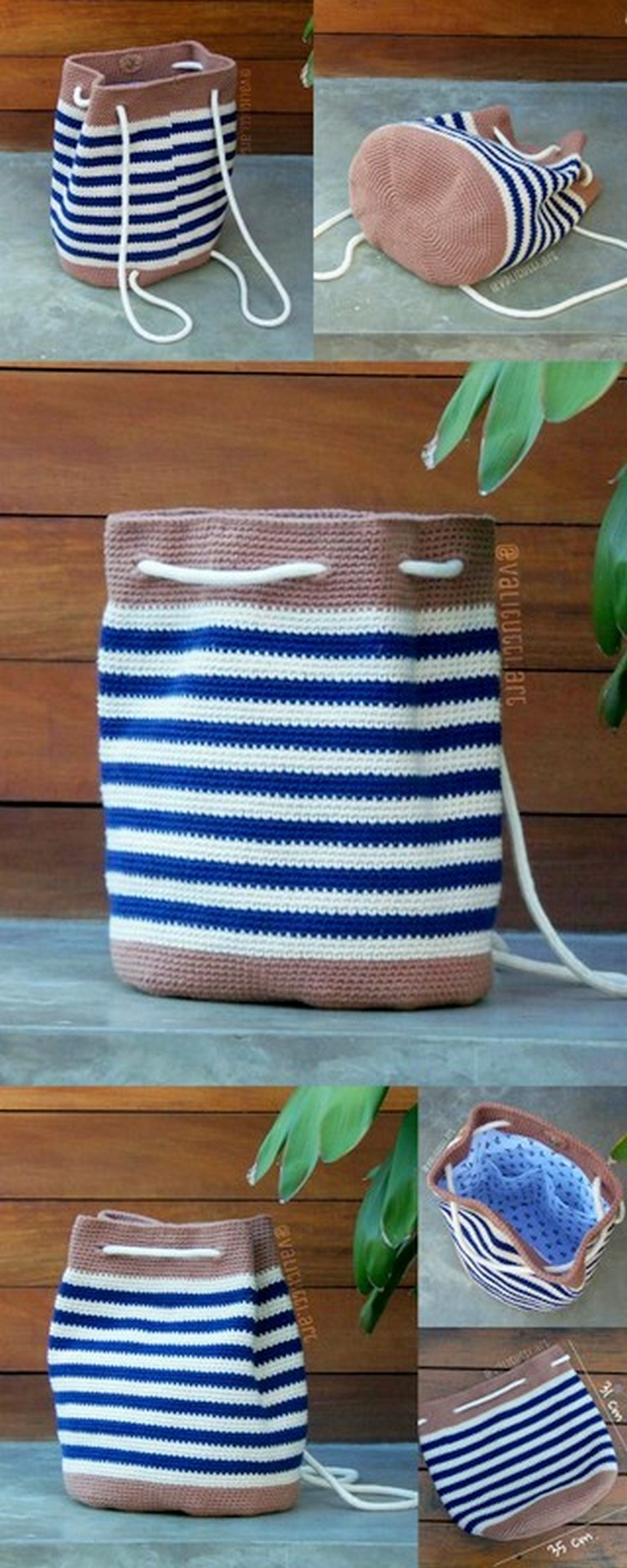 Blue and White bag Free Crochet Pattern