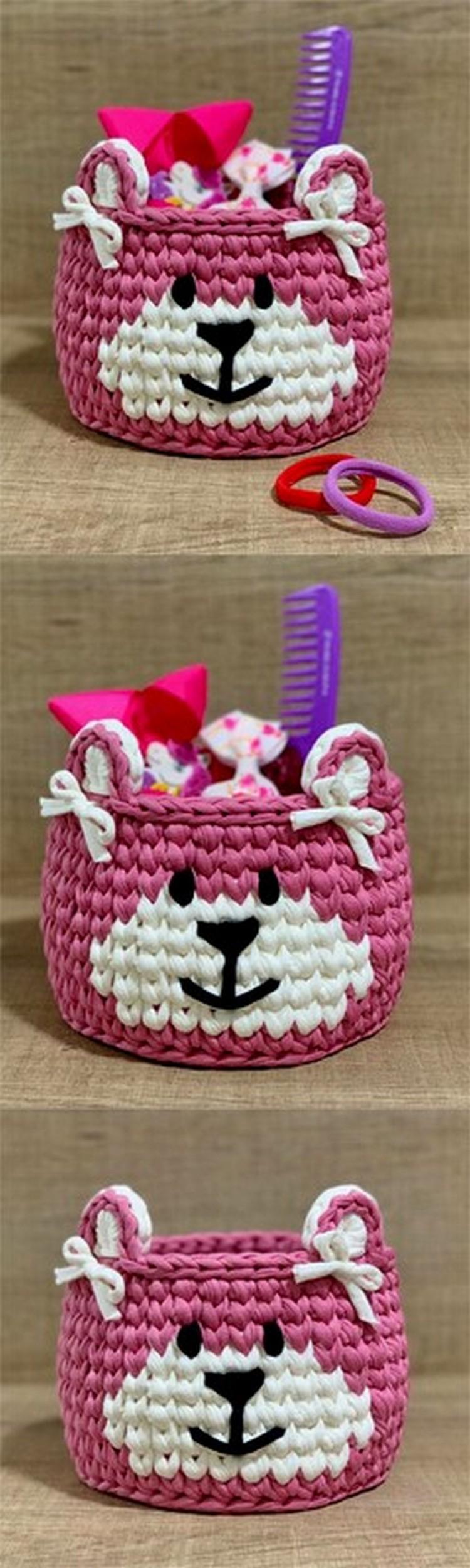Bear face Basket Free Crochet Pattern