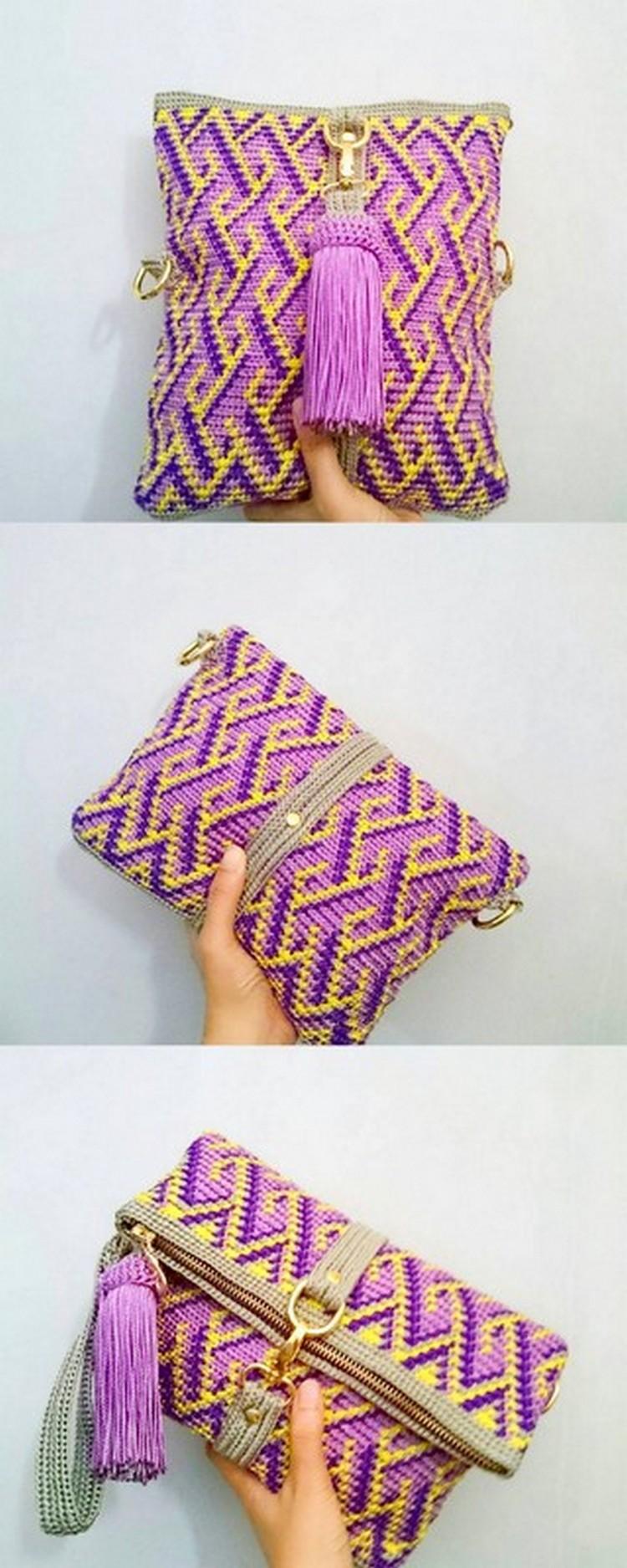 Pom Style Bag Free Crochet pattern