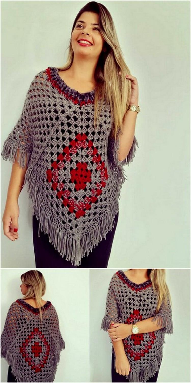 Poncho Style Shirt Free Crochet Pattern