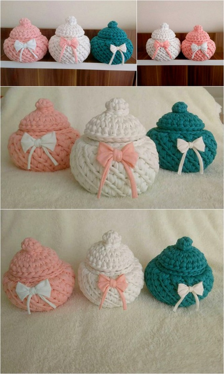 Multicolor Jars With Lid Free Crochet pattern